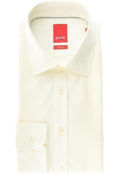 Pure Hemd - Slim Fit - beige, Einfarbig