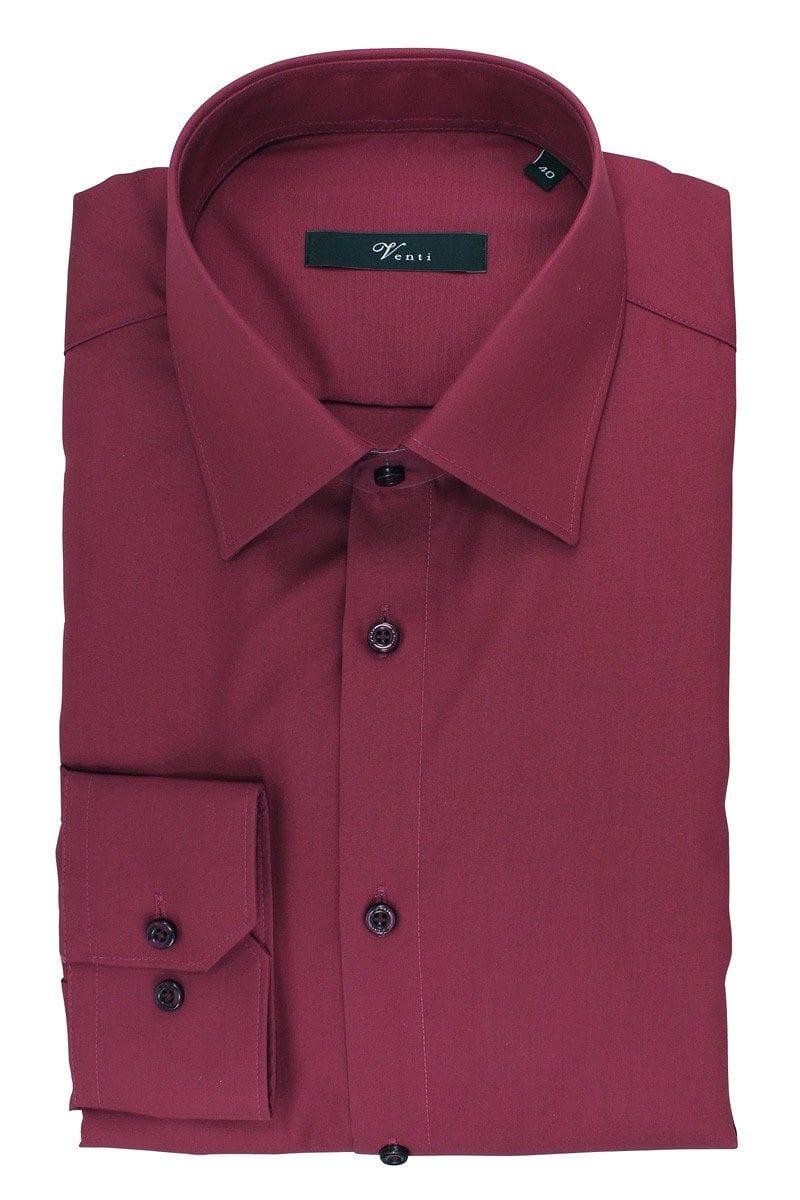 Venti Hemd - Modern Fit - bordeaux, Einfarbig