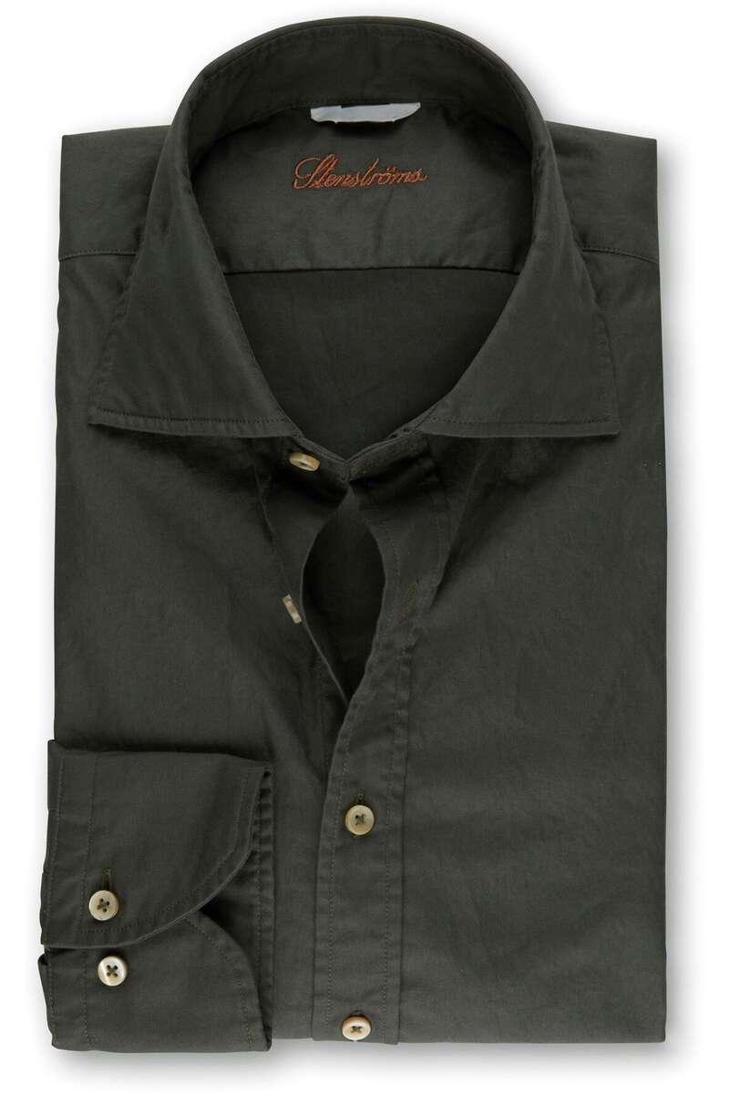 Stenströms Fitted Body Hemd dunkelgrün, Einfarbig XXL