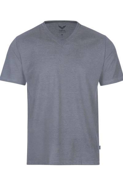 TRIGEMA T-Shirt V-Ausschnitt steingrau, melange