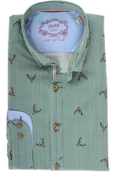 Pure Slim Fit Trachtenhemd grün/weiss, Gestreift