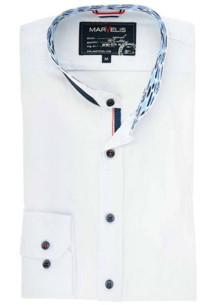 Marvelis Casual Modern Fit Hemd weiss, Einfarbig