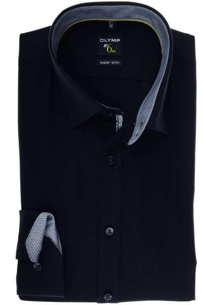buy online 47e89 be2bc OLYMP No. Six Super Slim Hemd schwarz, Strukturiert