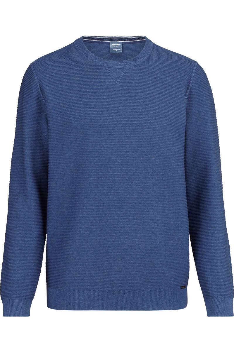 OLYMP Casual Modern Fit Pullover Rundhals blau, strukturiert 3XL