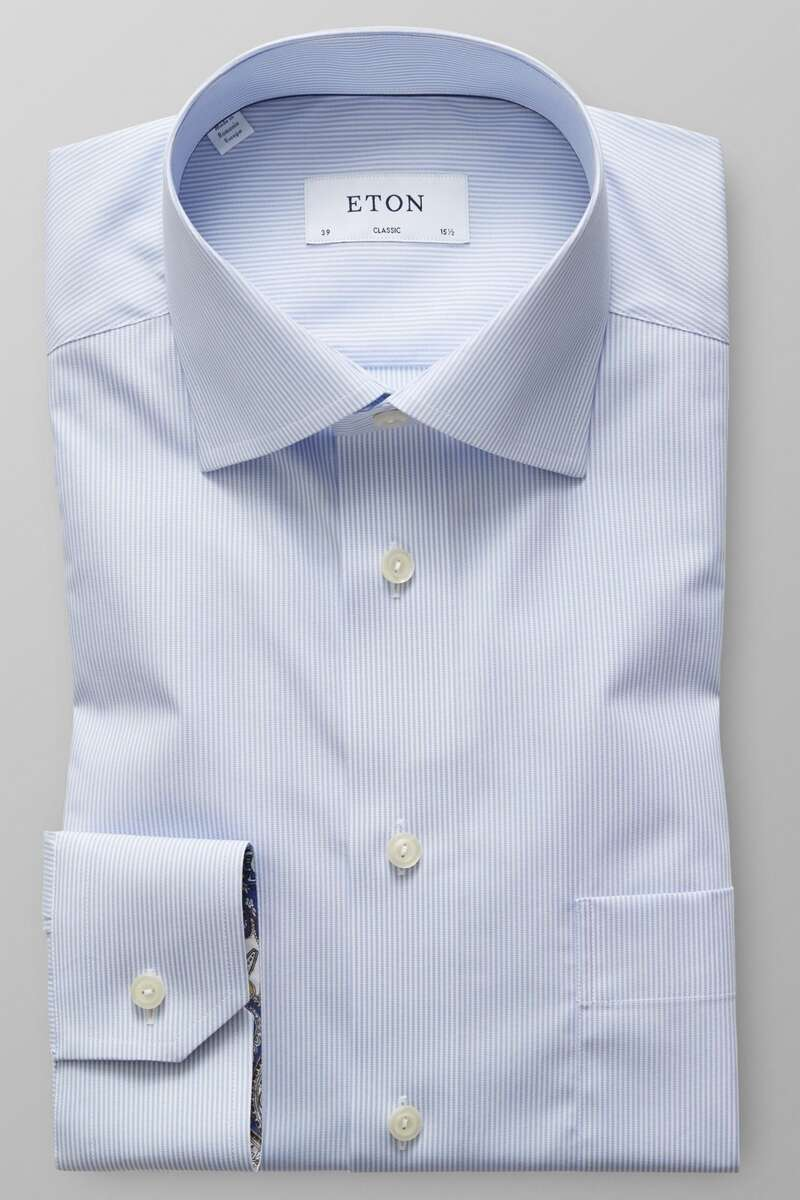 ETON Classic Fit Hemd blau/weiss, Feinstreifen 41 - L
