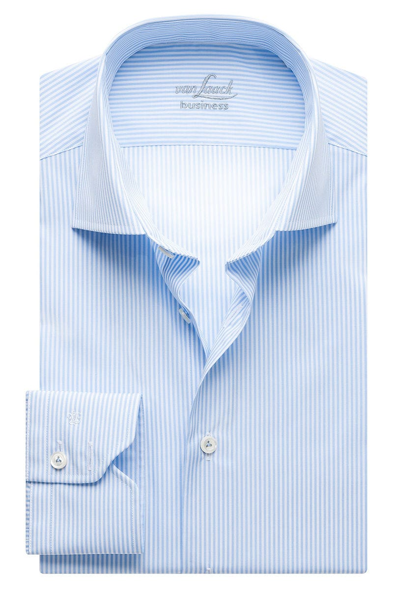 van Laack Hemd - Tailor Fit - hellblau, Gestreift (extra langer Arm) 37 - S