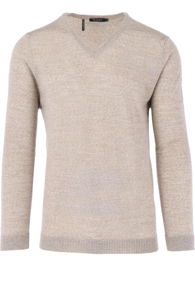 Maerz Modern Fit Pullover V-Ausschnitt beige, einfarbig 46