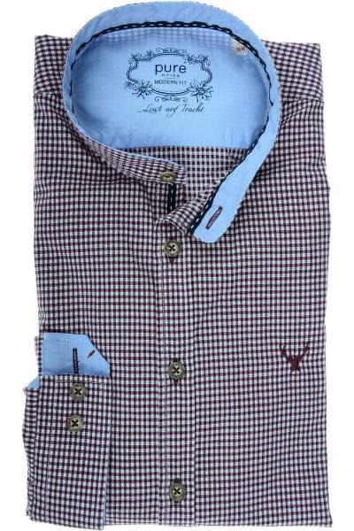 Pure Modern Fit Hemd braun/weiss, Kariert