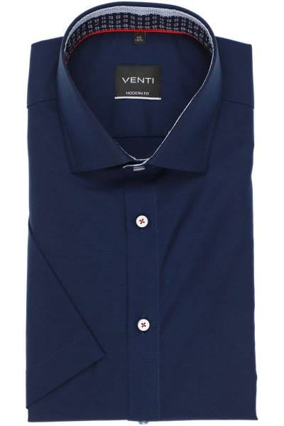 Venti Modern Fit Hemd dunkelblau, Einfarbig