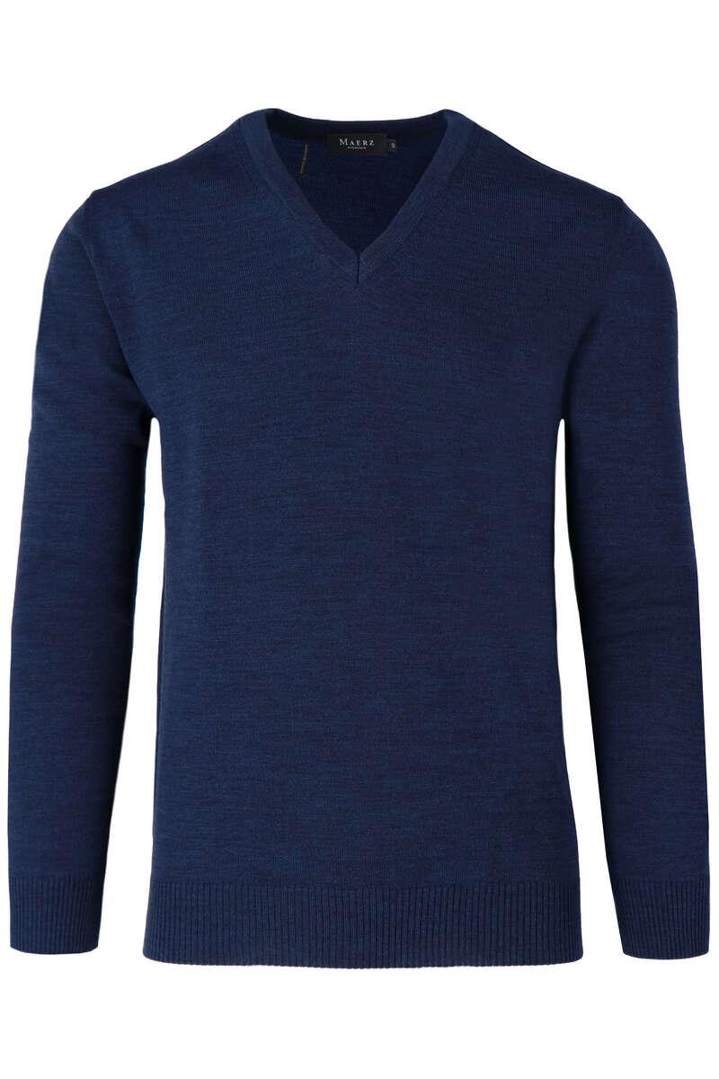 Maerz Classic Fit Pullover V-Ausschnitt dunkelblau, einfarbig 50