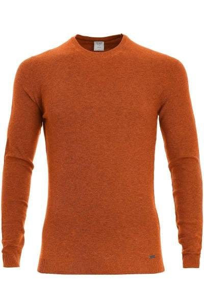OLYMP Level Five Strickpullover Rundhals camel, einfarbig