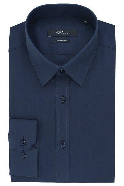Venti Hemd - Body Fit - dunkelblau, Einfarbig