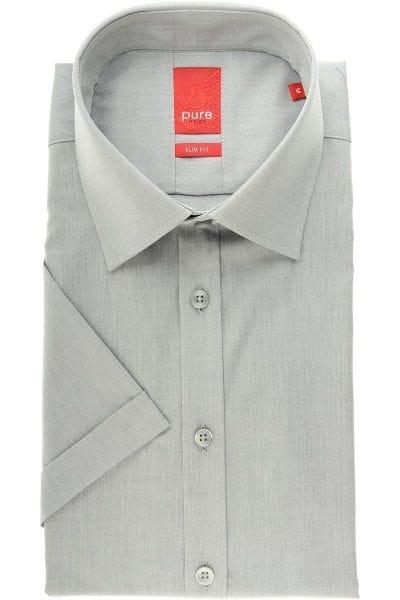 Pure Hemd - Slim Fit - grau, Einfarbig