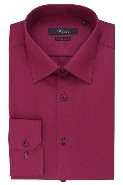 Venti Hemd - Modern Fit - dunkelrot, Einfarbig
