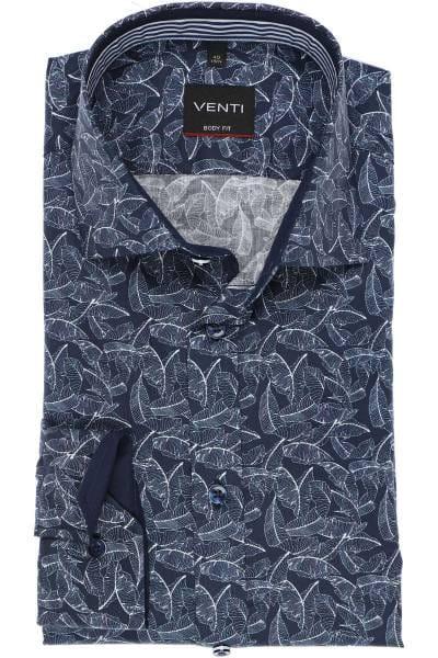 Venti Body Fit Hemd blau/weiss, Gemustert