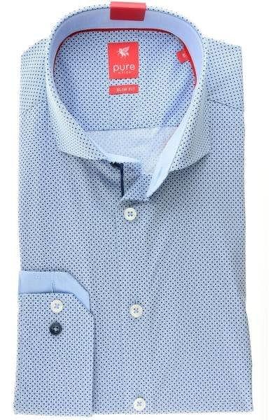 Pure Hemd - Slim Fit - hellblau/blau, Gemustert