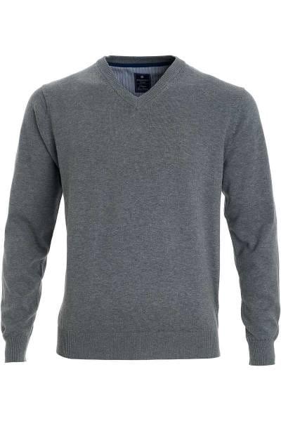 Redmond Strickpullover V-Ausschnitt grau, einfarbig