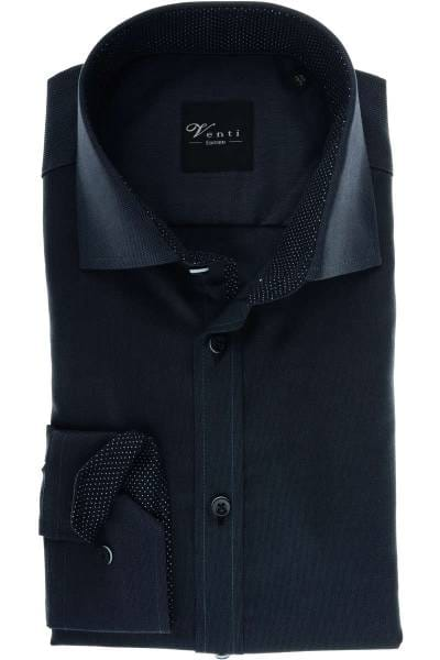 Venti Slim Fit Hemd anthrazit/schwarz, Strukturiert