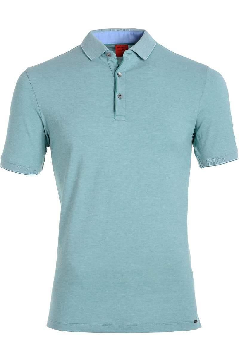 Olymp Level Five Body Fit Poloshirt grün/weiss, Zweifarbig