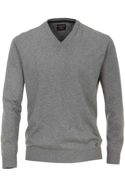 Casa Moda Strickpullover V-Ausschnitt grau, einfarbig