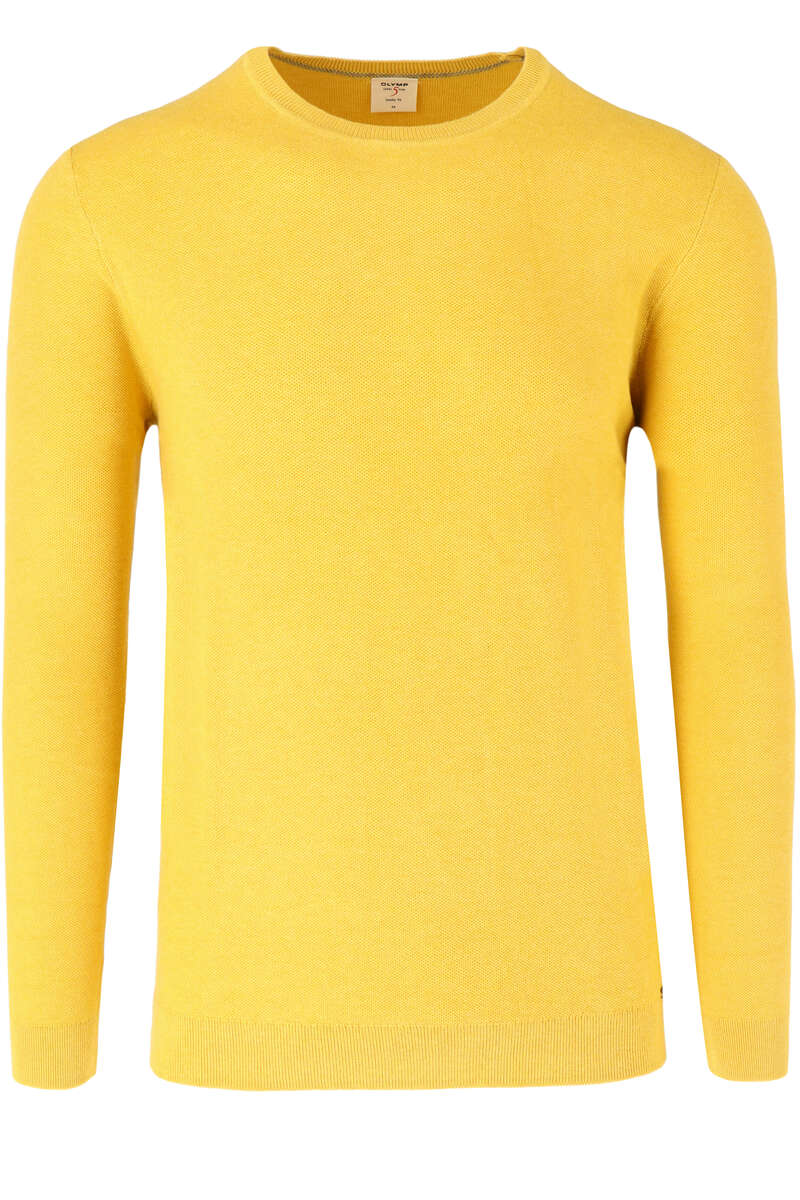 OLYMP Level Five Body Fit Pullover Rundhals gelb, einfarbig M