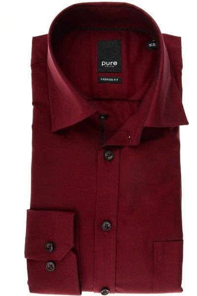 Pure Hemd - Fashion Fit - bordeaux, Einfarbig