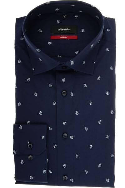 Seidensticker Modern Fit Hemd dunkelblau, Gemustert