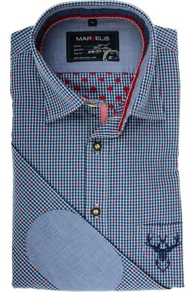 Marvelis Modern Fit Trachtenhemd dunkelblau/weiss, Vichykaro