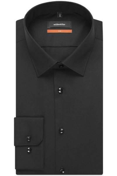 Seidensticker Hemd - Slim Fit - schwarz, Einfarbig