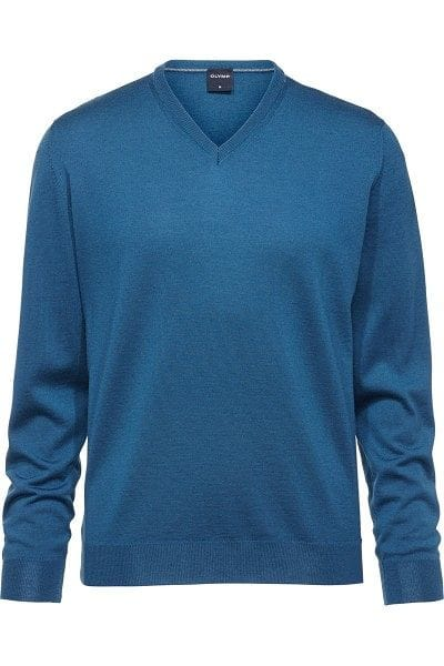 Olymp Strick - V-Ausschnitt Pullover - petrol