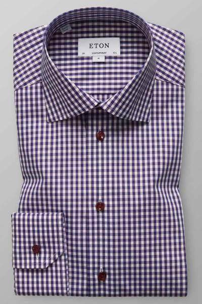 Eton Contemporary Fit Hemd blau/rot/weiss, Kariert