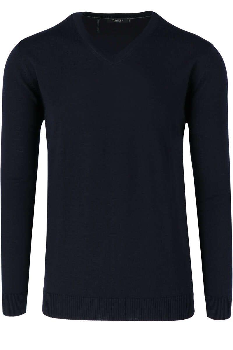 Maerz Modern Fit Pullover V-Ausschnitt navy, einfarbig 58