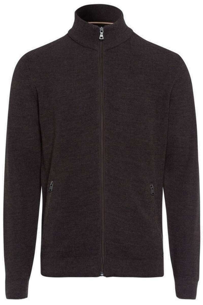 Brax Modern Fit Cardigan Zip braun, einfarbig 48