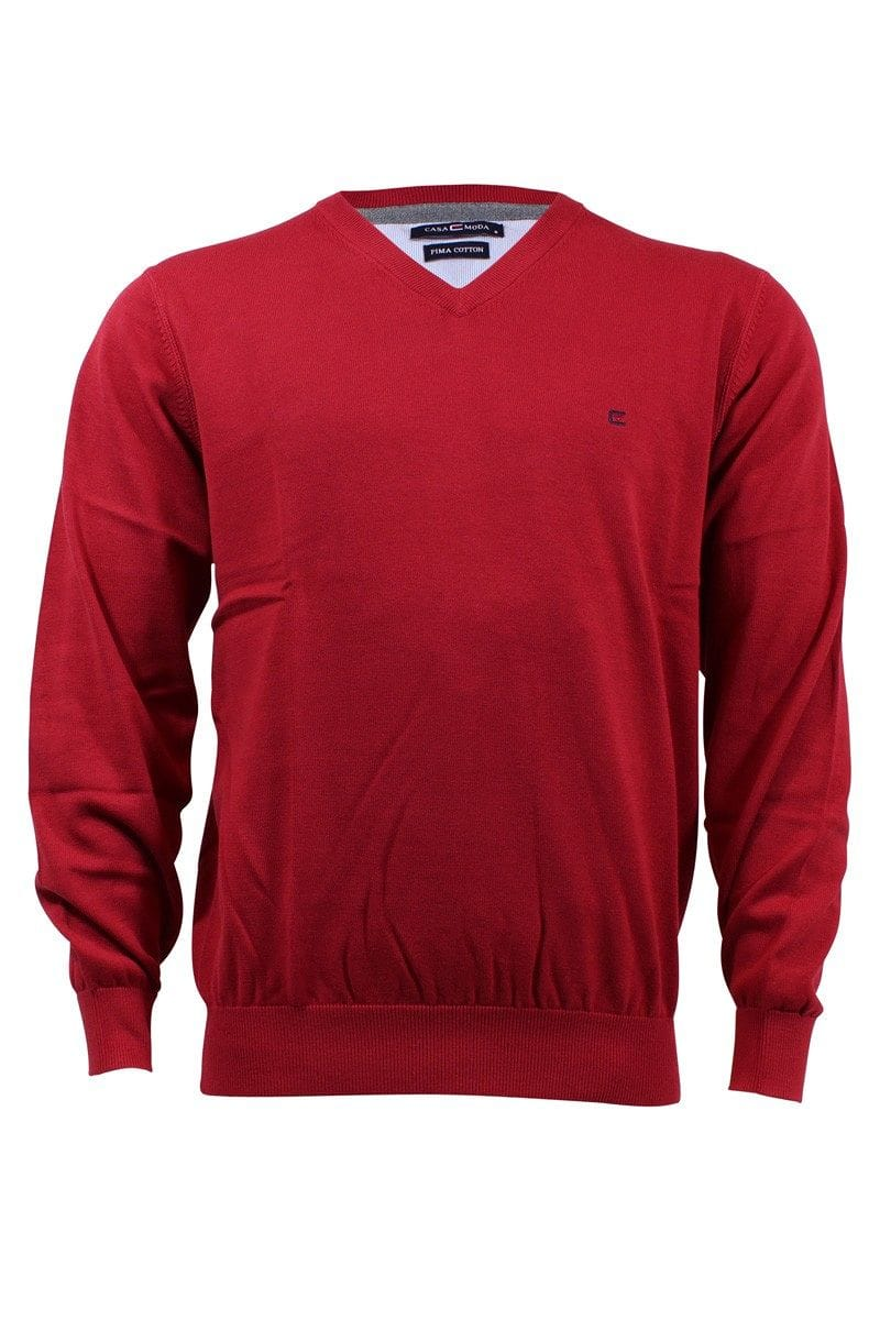 Casa Moda Knit Wear - V-Neck Pullover - red
