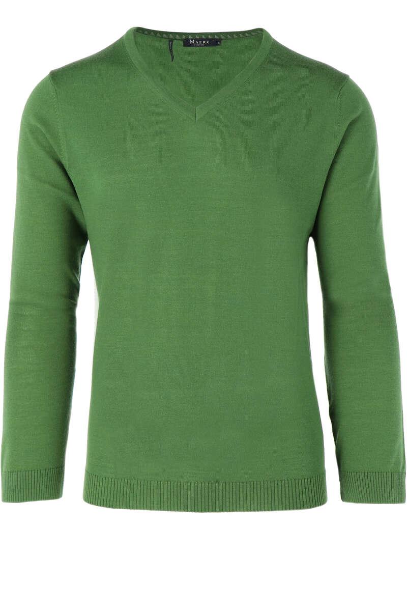 Maerz Modern Fit Pullover V-Ausschnitt mittelgrün, einfarbig 50