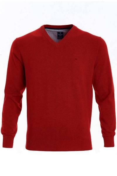 Redmond Strickpullover V-Ausschnitt rot, einfarbig