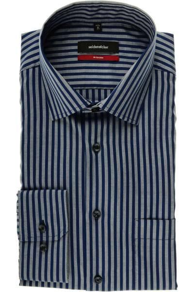 Seidensticker Modern Fit Hemd blau/silber, Gestreift