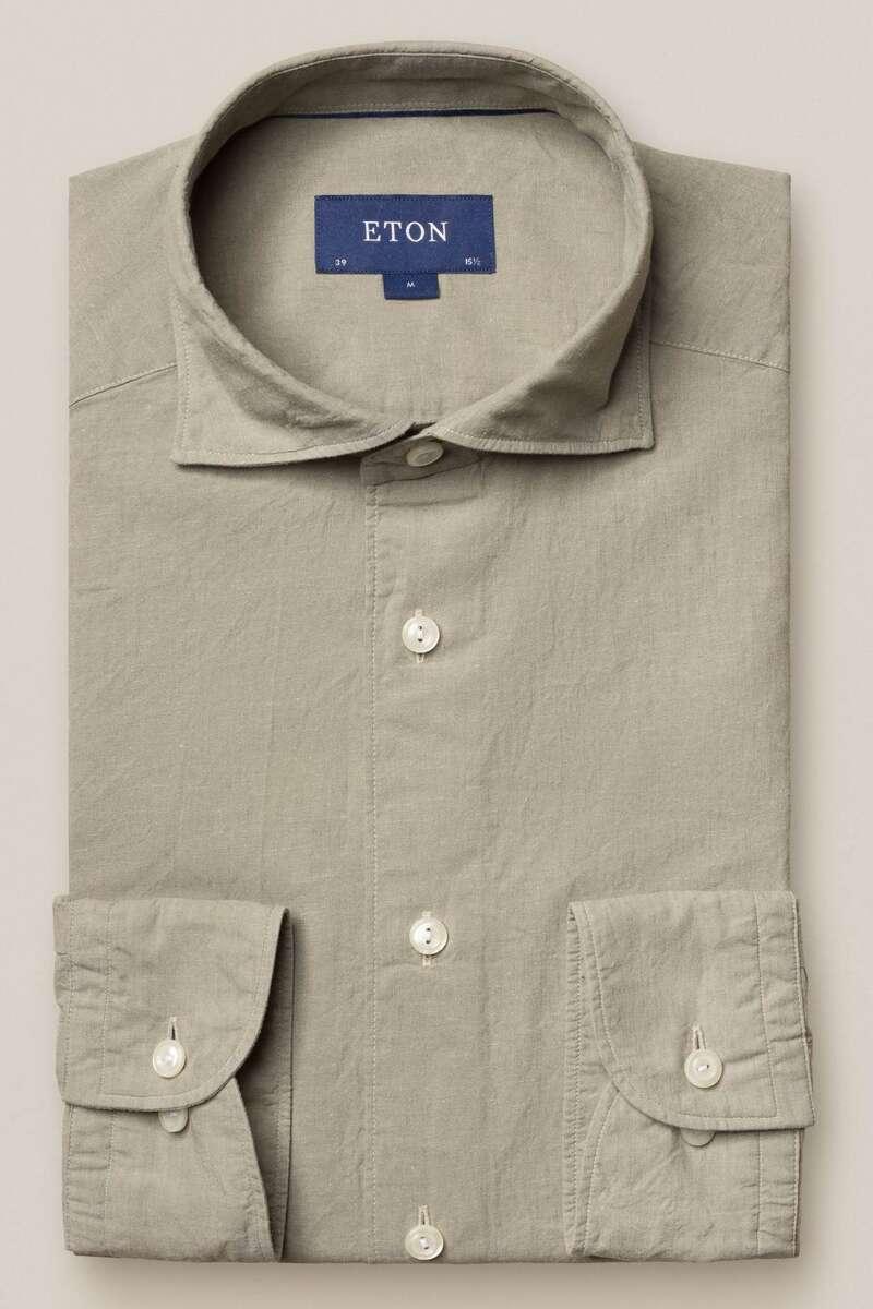 ETON Slim Fit Hemd khaki, Einfarbig 40 - M
