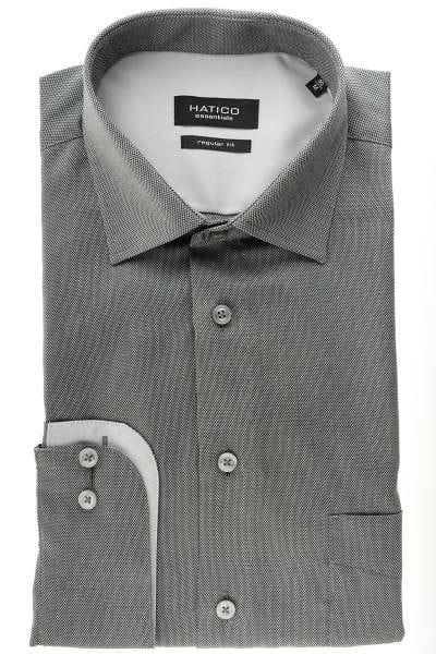 Hatico Hemd - Regular Fit - grau, Einfarbig