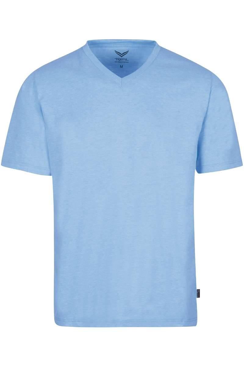 TRIGEMA T-Shirt V-Ausschnitt hellblau, melange