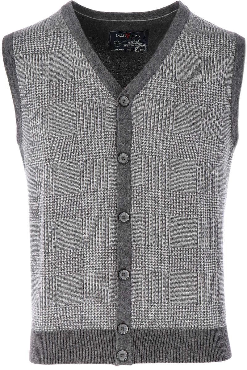Marvelis Casual Modern Fit Weste V-Ausschnitt grau, gemustert M
