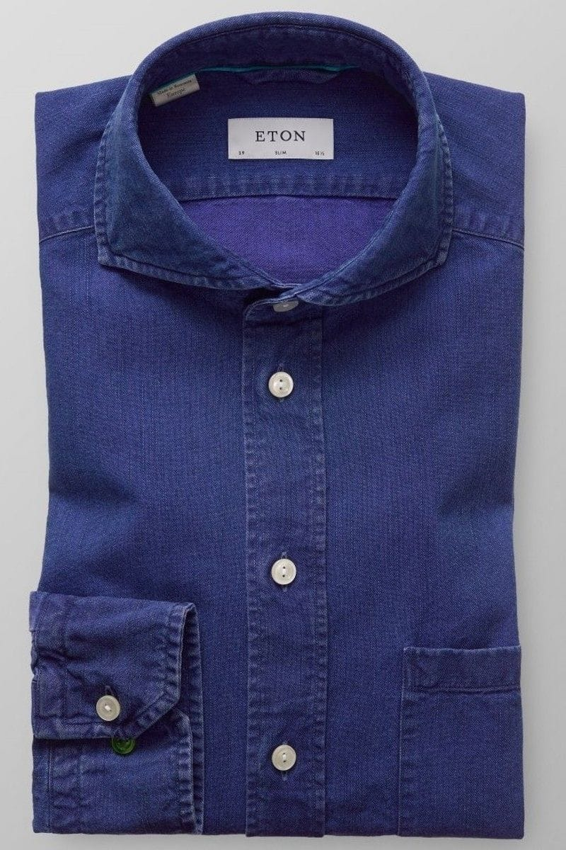 eton slim fit hemd in langarm 66cm dunkelblau einfarbig. Black Bedroom Furniture Sets. Home Design Ideas