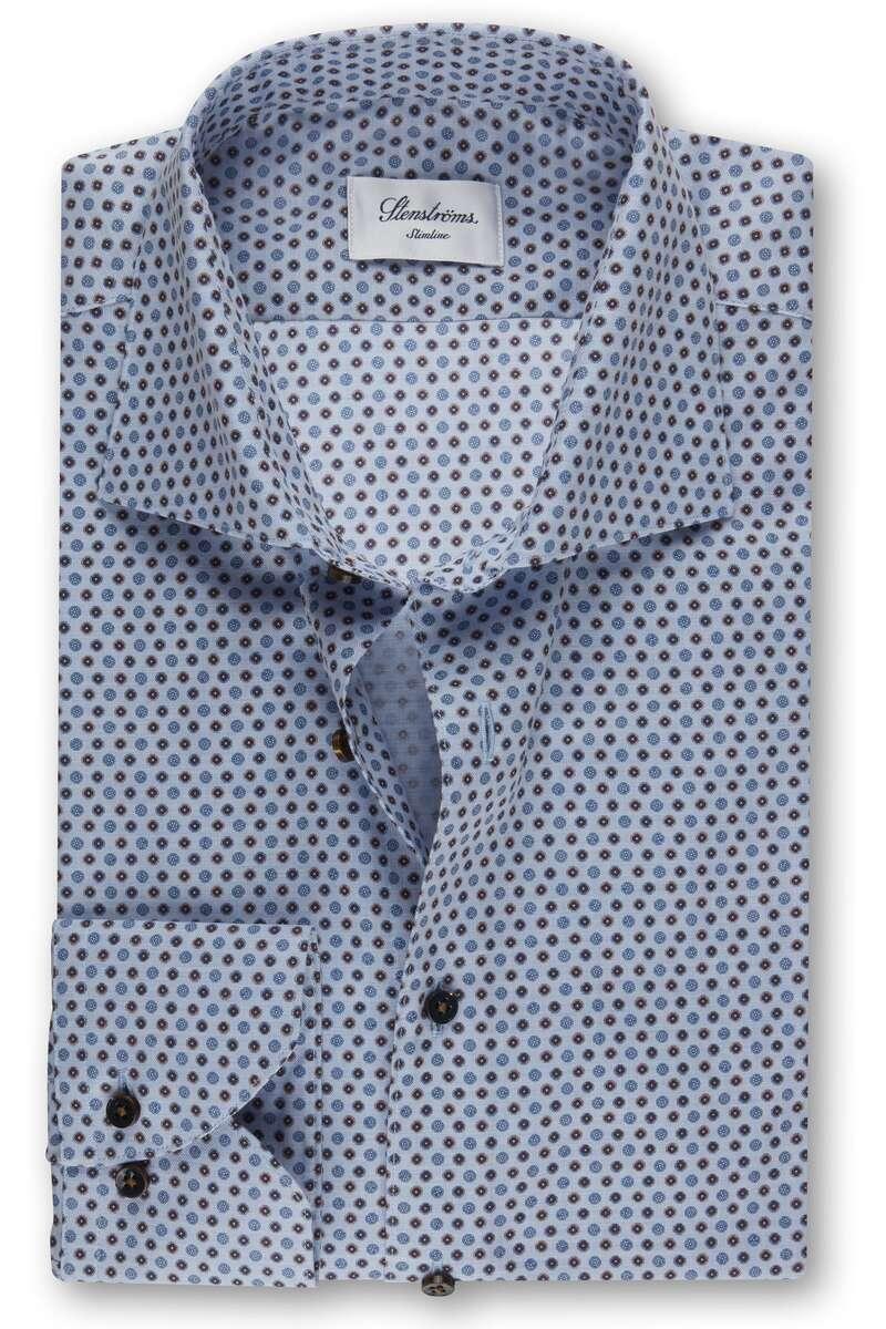 Stenströms Slimline Hemd blau, Gemustert 40 - M