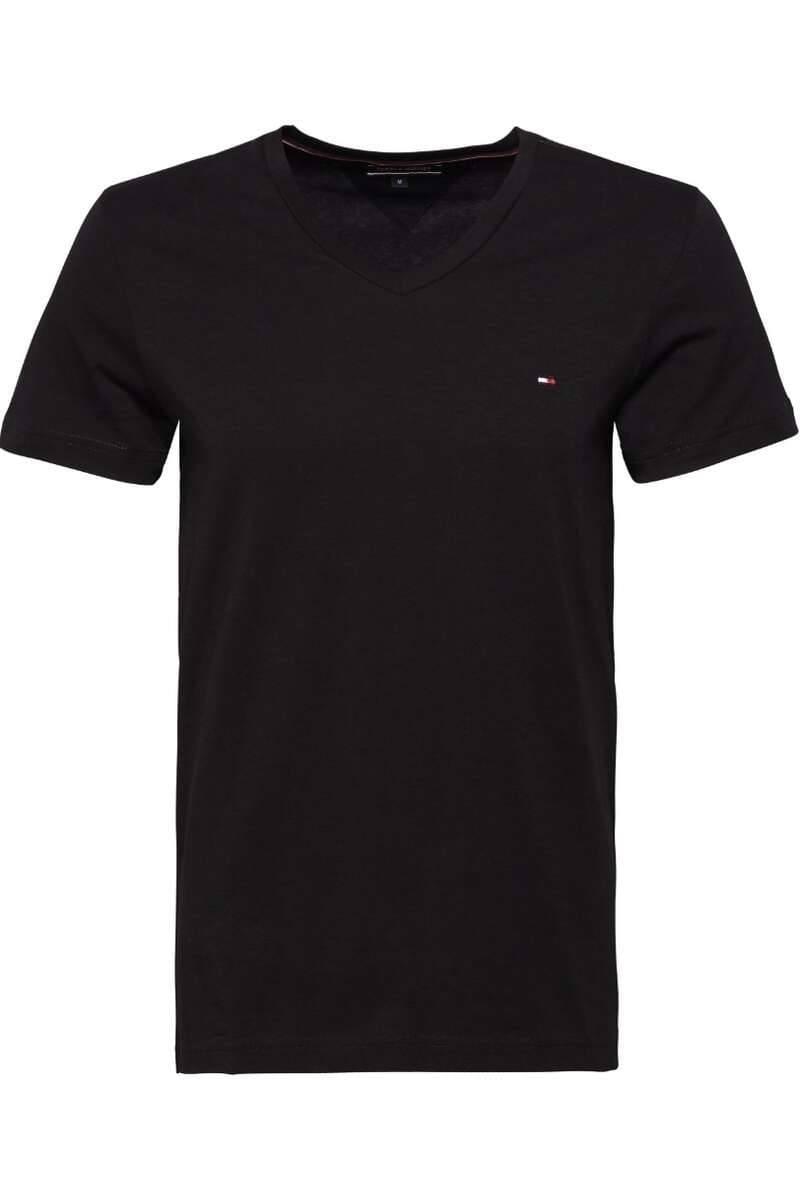 Tommy Hilfiger Basic T-Shirt V-Ausschnitt schwarz unifarben MW0MW02045 083
