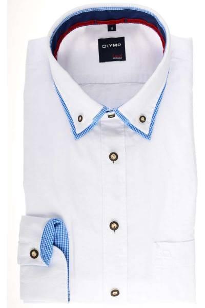 OLYMP Modern Fit Trachtenhemd weiss, Einfarbig