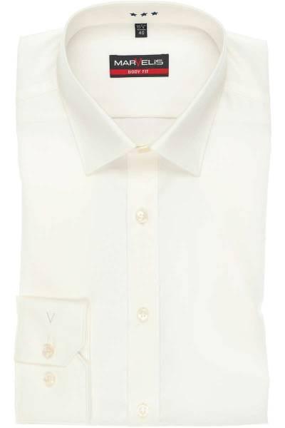 Marvelis Body Fit Hemd hellbeige, Einfarbig