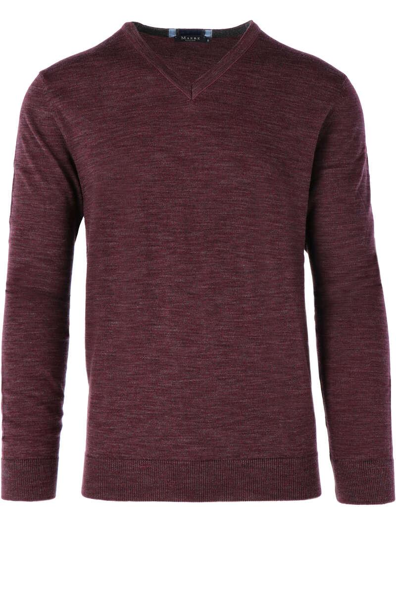 MAERZ Modern Fit Pullover V-Ausschnitt bordeaux, einfarbig 50