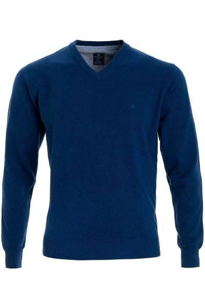 Redmond Strickpullover V-Ausschnitt dunkelblau, einfarbig