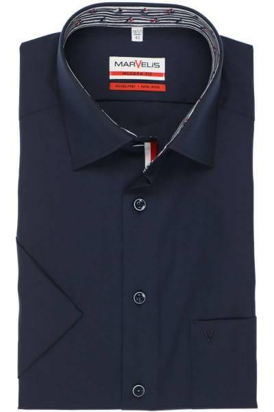 Marvelis Modern Fit Hemd marine, Einfarbig