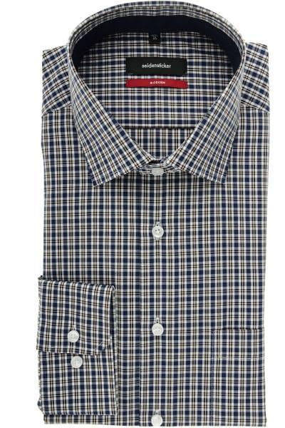 Seidensticker Modern Fit Hemd blau/braun/weiss, Kariert